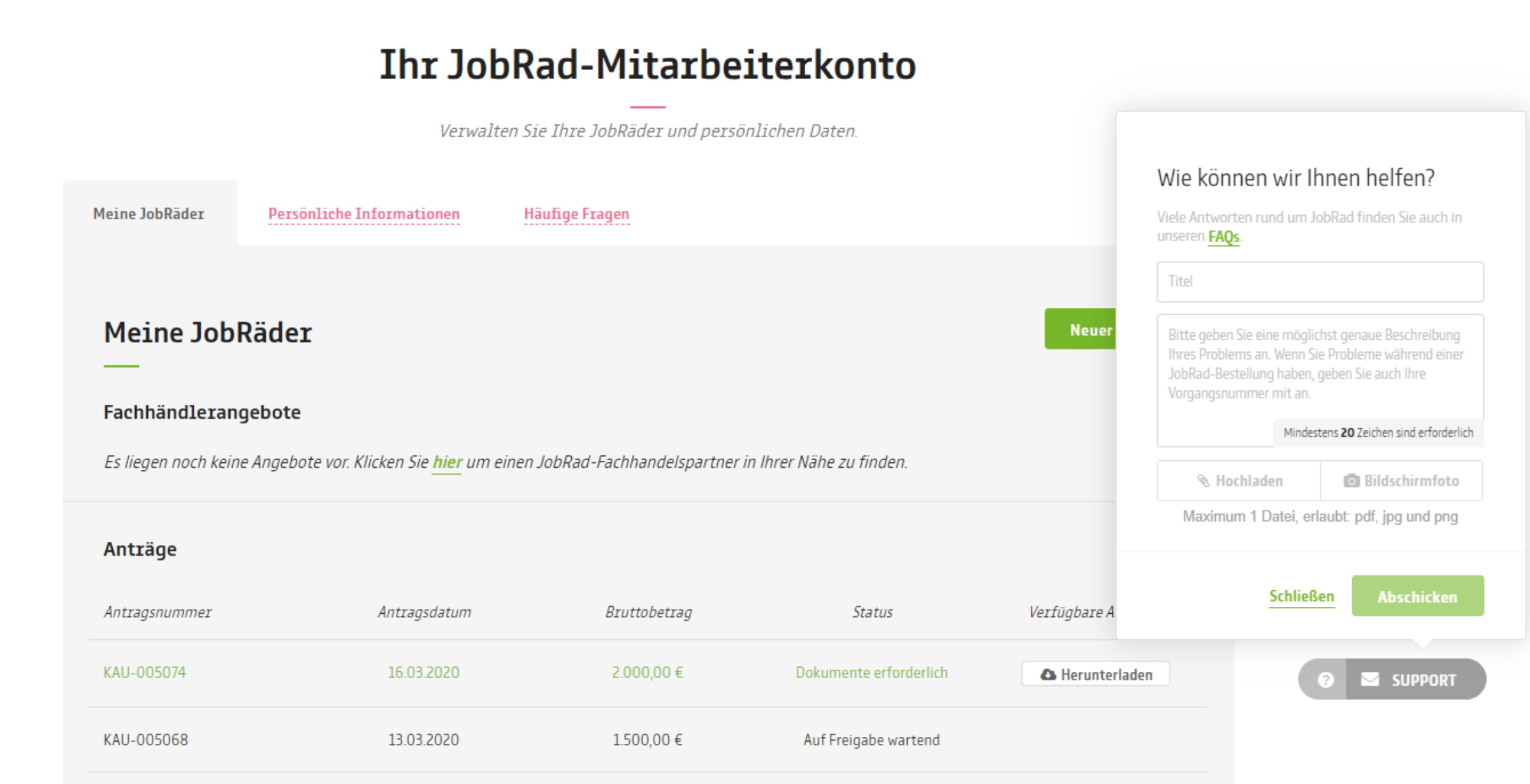 JobRad Portal | Ticketfunktion imPortal